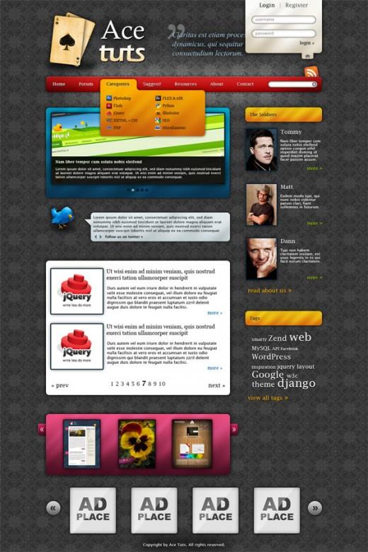 Create Colorful Blog Web Layout Using Photoshop