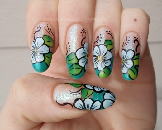 10. One Stroke Nail Art