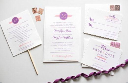 Modern Monogram Wedding Invitation