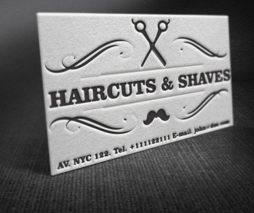 Letterpress Barber Shop Business Cards